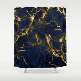 Indigo Blue Marble with 24-Karat Gold Veins Shower Curtain