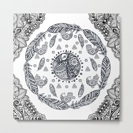 Mandala ornament Bohemian Birds Ethnic Tribal Boho Feathers Metal Print