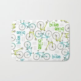 Watercolor Blue and Green Bikes Bath Mat