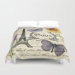 french botanical print purple butterfly lavender floral paris eiffel tower Duvet Cover