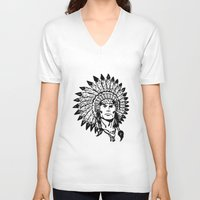 headdress V-neck T-shirts featuring Headdress by Gregg Deal