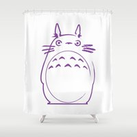 studio ghibli Shower Curtains featuring STUDIO GHIBLI HAYAO MIYAZAKI - MY NEIGHBOR TO TO RO by The Fugu Project