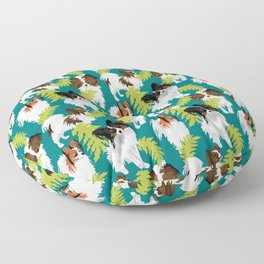 Papillon leaves on turquoise Floor Pillow