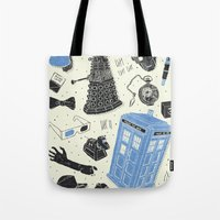 jenna kutcher Tote Bags featuring Artifacts: Doctor Who by Josh Ln