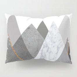 Marble Gray Copper Black and White Mountains Pillow Sham