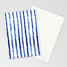 Blue painted stripes Stationery Cards