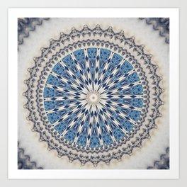 Bright Blue Marble Mandala Design Art Print