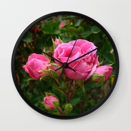 Hot Pink Rose Cluster Wall Clock