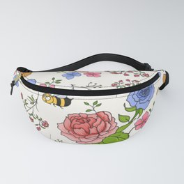 Bee-utiful pattern with bees and flowers Fanny Pack