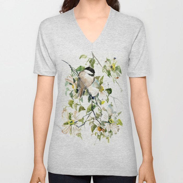 chickadee and dogwood, chickadee art design floral Unisex V-Neck