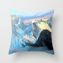 Panoramic Sunrise View Of Everest Mountain Throw Pillow