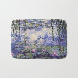 1917 Water Lilies oil on canvas. Claude Monet. Vintage fine art. Bath Mat