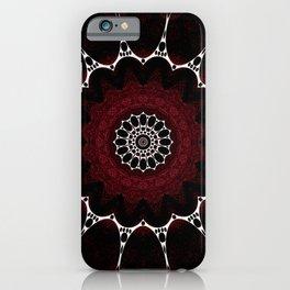Deep Ruby Red Mandala Design iPhone Case