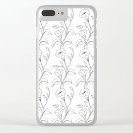 Floral Drawing in black and white Clear iPhone Case
