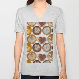 Latte Polka Dots in White Unisex V-Neck