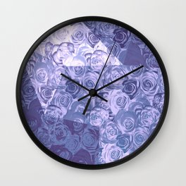 carpet of roses and geometry in blue Wall Clock