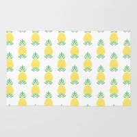 pineapple Area & Throw Rugs featuring Pineapple by Jacqueline Maldonado