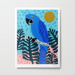 Steaz - memphis throwback tropical retro minimal bird art 1980s 80s style pattern parrot fashion Metal Print