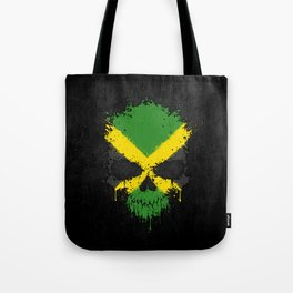 Flag of Jamaica on a Chaotic Splatter Skull Tote Bag