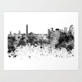 Buenos Aires skyline in black watercolor Art Print