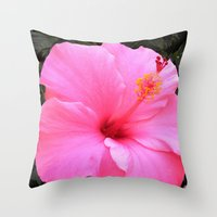 hot pink Throw Pillows featuring Hot pink by Dyneli