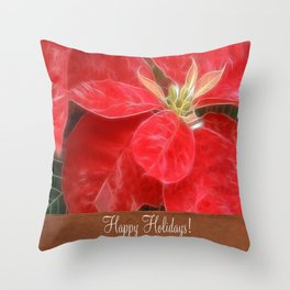 Mottled Red Poinsettia 1 Ephemeral Happy Holidays S1F1 Throw Pillow