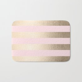 Simply Striped in White Gold Sands and Flamingo Pink Bath Mat