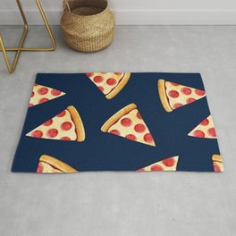 Slice Pizza on blue Rug