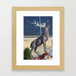 Bird Flying From Stag Deer Statue Framed Art Print