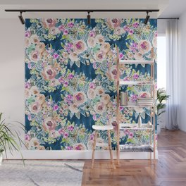 NAVY SO LUSCIOUS Colorful Watercolor Floral Wall Mural