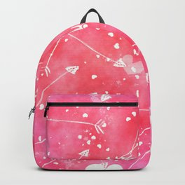 Hearts Stars Arrows Pink Watercolor Background Backpack