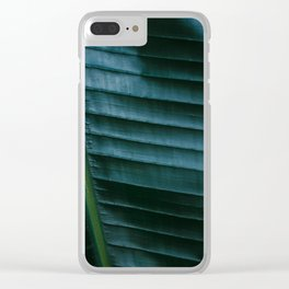 Botanical photography print | Dark green tropical leaf of a palm | Jungle Wanderlust art Clear iPhone Case