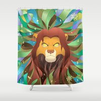 simba Shower Curtains featuring Spirit of The Lion King by EmeraldSora