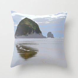 Illustrated Haystack Rock Throw Pillow