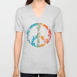 Animal nature peace sign  Unisex V-Neck