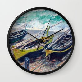 Three Fishing Boats by Claude Monet Wall Clock