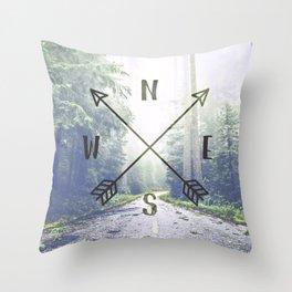 Forest Compass Throw Pillow