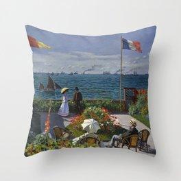 Garden at Sainte-Adresse by Claude Monet Throw Pillow