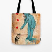 will graham Tote Bags featuring GRAHAM CRACKERS by RAGING BUNNIES