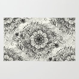 Messy Boho Floral in Charcoal and Cream  Rug