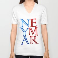 neymar V-neck T-shirts featuring Neymar by Sport_Designs