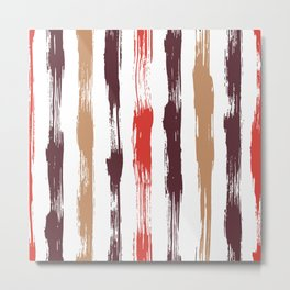 Red brush stripes Metal Print