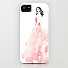 Fashion illustration pink long gown iPhone Case