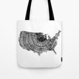 United States Print, Tree ring print, Tree rings, US map, Wood grain Tote Bag
