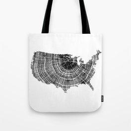 United States Print, Tree ring print, Tree rings, US map, Wood grain Tote Bag