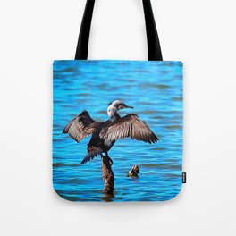 Cormorant Wings on Blue Water Tote Bag