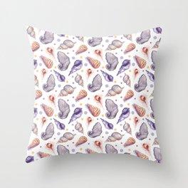 Summer pink lilac watercolor polka dots sea shells Throw Pillow