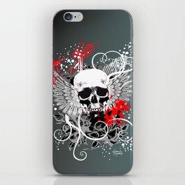 GOTH WINGED SKULL   white grey red iPhone Skin