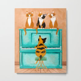Piano Cats Metal Print