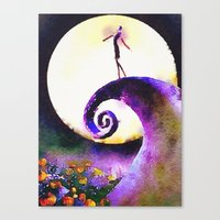 nightmare before christmas Canvas Prints featuring Nightmare Before Christmas by Melanie Tassone Art
